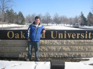 Micah Fialka-Feldman in front of Oakland University