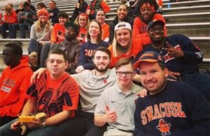 Micah and friends at a Syracuse University basketball game